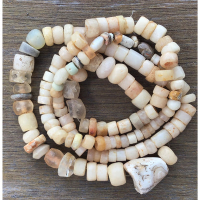 Mixed Ancient and Neolithic Agate Beads with Ancient Rock Crystal Beads, West Africa - Rita Okrent Collection (S397r)