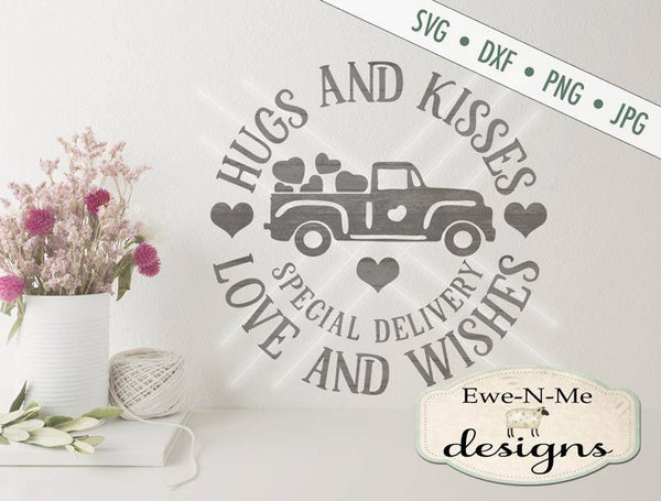 Valentine Truck - Hugs & Kisses - SVG