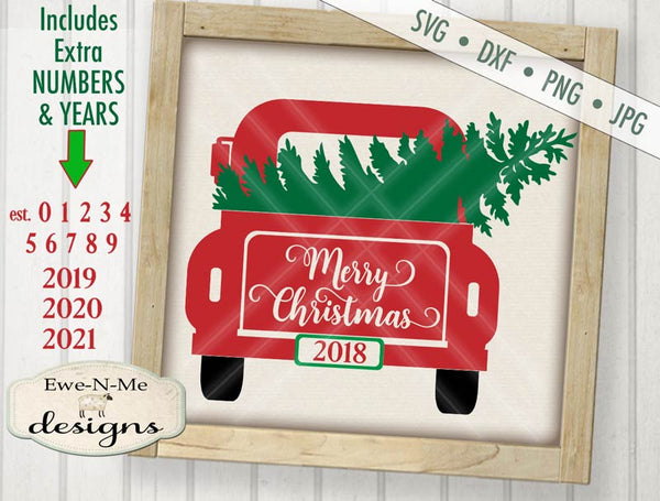 Back of Truck Merry Christmas - SVG