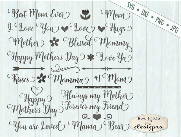 Mother's Day Words - SVG