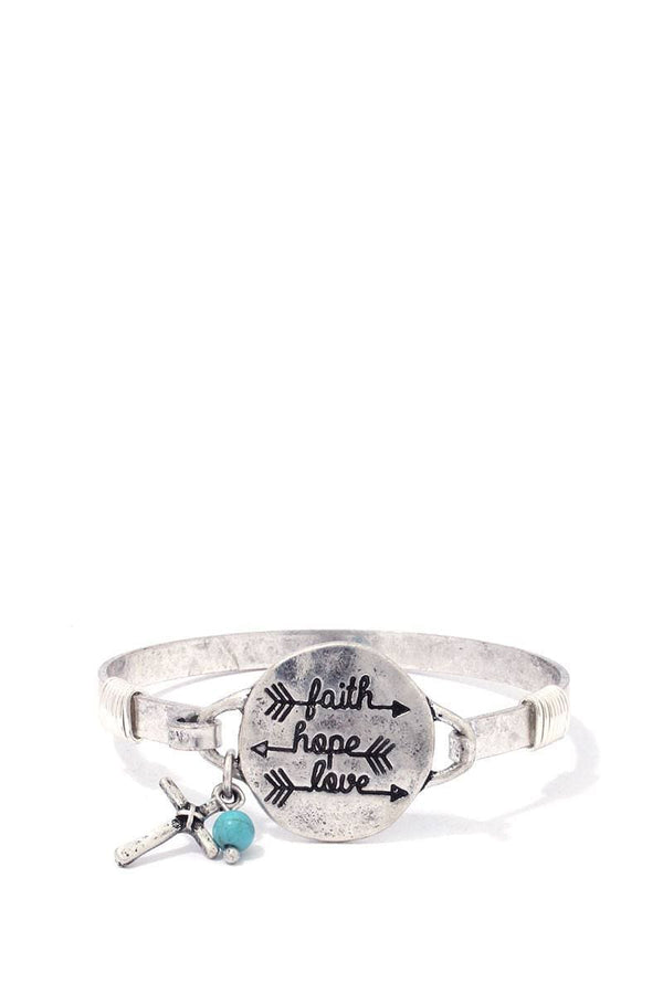 """faith Hope Love"" Engraved Metal Bracelet"