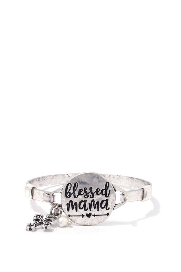 """blessed Mama"" Engraved Metal Bracelet"