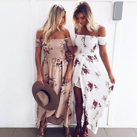 Off Shoulder Beach Autumn Dresses - LoveLuve