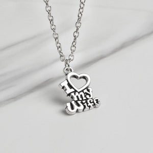 I Love My Wife & I Love My Husband Couple Matching Love Necklace
