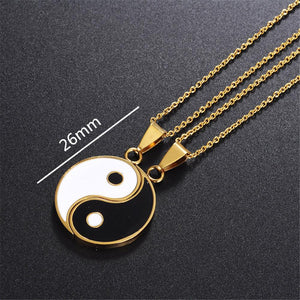 Matching 2 Pieces Stainless Steel Yin Yang Pendant Necklace