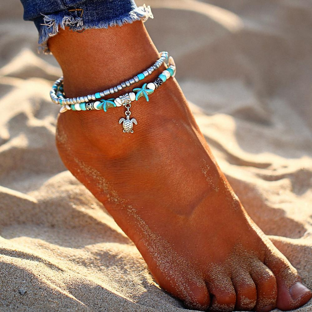 Starfish Turtle Beads Anklets - LoveLuve