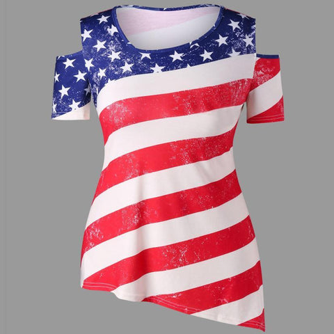 Image of Fourth of July 2018 Women's  American Flag Printed Off Shoulder Tops - LoveLuve