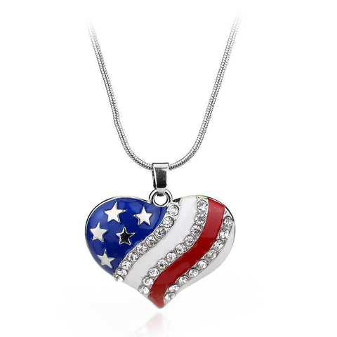 USA Flag for 4th of July Independence Day Pendant Necklaces - LoveLuve