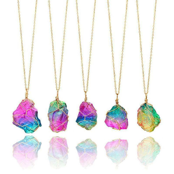 Rainbow Stone Natural Crystal Necklace