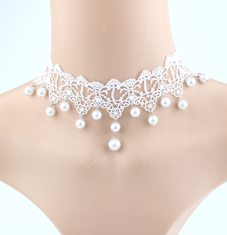 Multilayer Crystal Lace Necklace Clavicle Chain