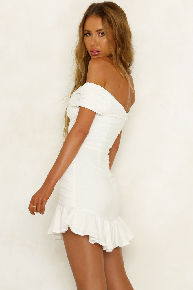 white off shoulder ruffle dress