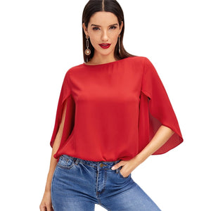 Elegant Red Butterfly Split Sleeve Blouse O-Neck Top - maliha-fashion-boutique
