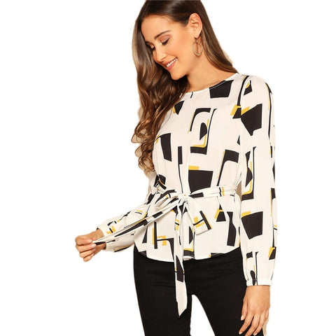 Women Boat Neck Long Sleeve Belted Geometric Print full sleeve Top - maliha-fashion-boutique