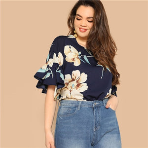Women Blouse Plus Size Navy color with Flower Print Flounce Sleeve Round Neck - maliha-fashion-boutique