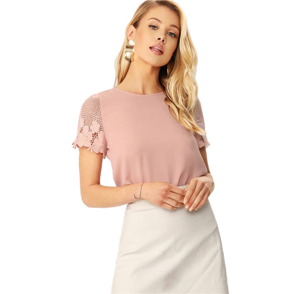 Pink Casual Scallop Hem Lace Sleeve Women Summer Blouse with Solid Round Neck Short Sleeve and Keyhole on the Back - maliha-fashion-boutique