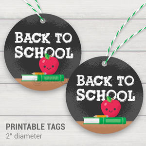 "Back to School - Instant Download Printable 2"" Circle Tag"