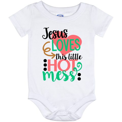 Onesie-Jesus Loves This Little Hot Mess