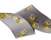"Bees on GREY Ribbon by Sue Spargo - 7/8"" -by the yard"