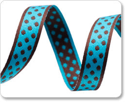 "Turquoise Small Polka Dots Ribbon - 3/8"" -by the yard"