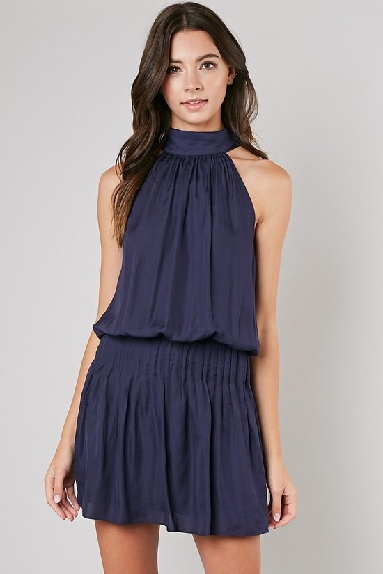 Bryce Mock Neck Dress in Navy