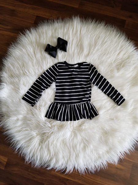 Black & White Ruffle Trim Top
