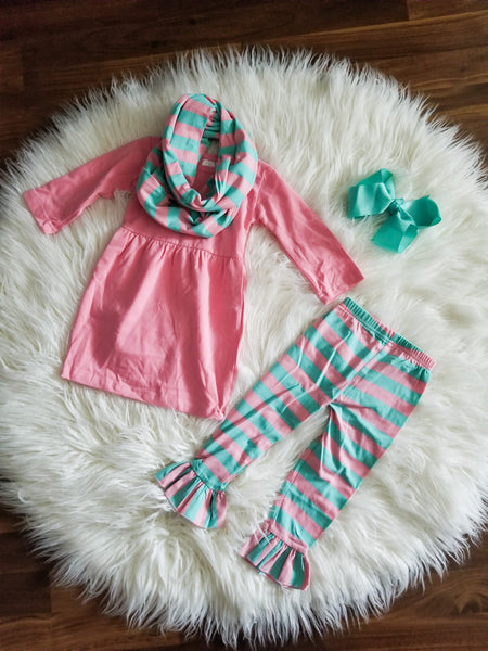 3 piece pink and teal fall outfit