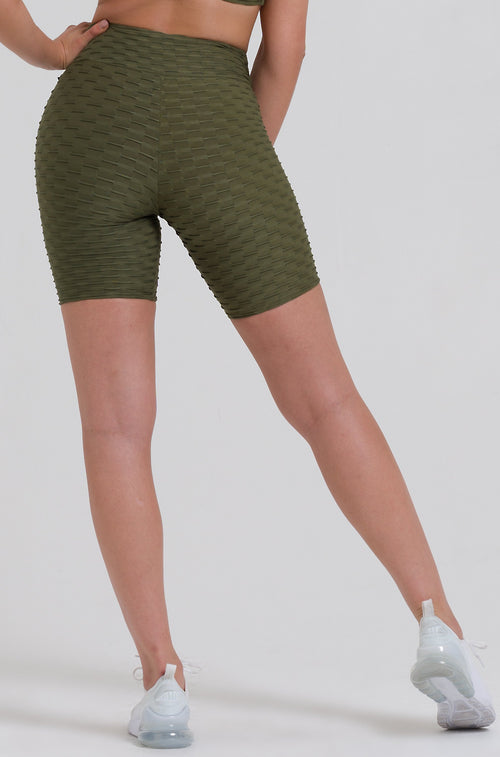 Olive Textured Long Biker Shorts