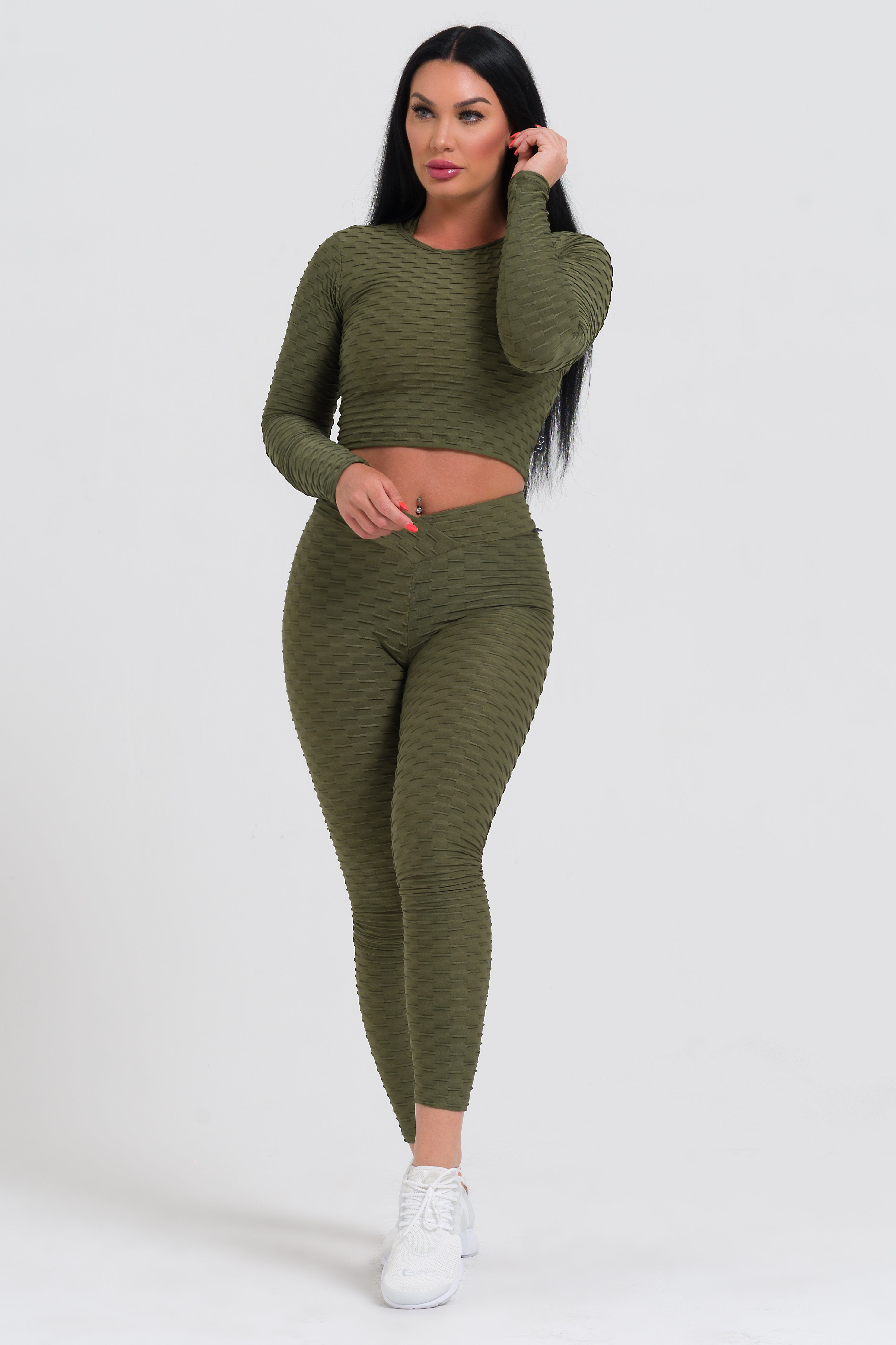 Olive Textured V-Cut Scrunch Legging