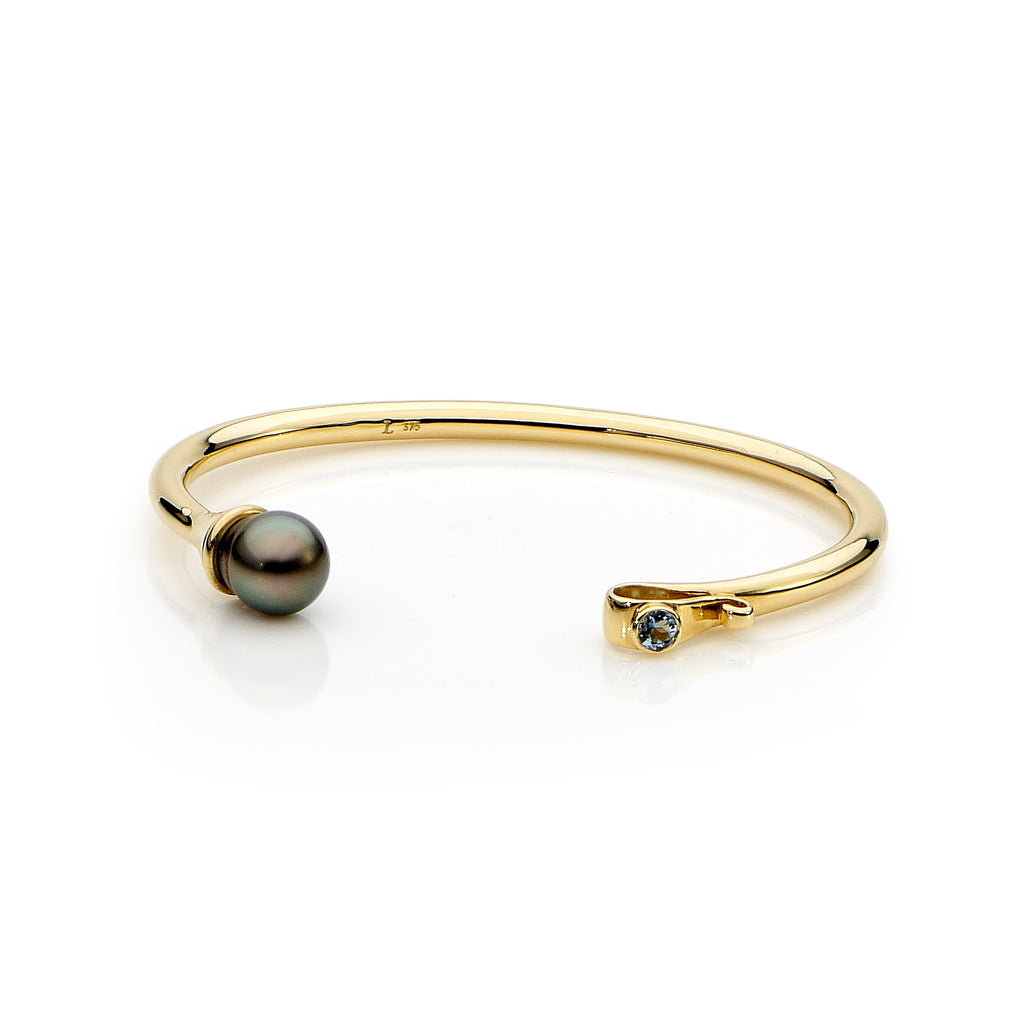 Yellow Gold Goddess Cuff, Abrolhos Pearl and Aquamarine