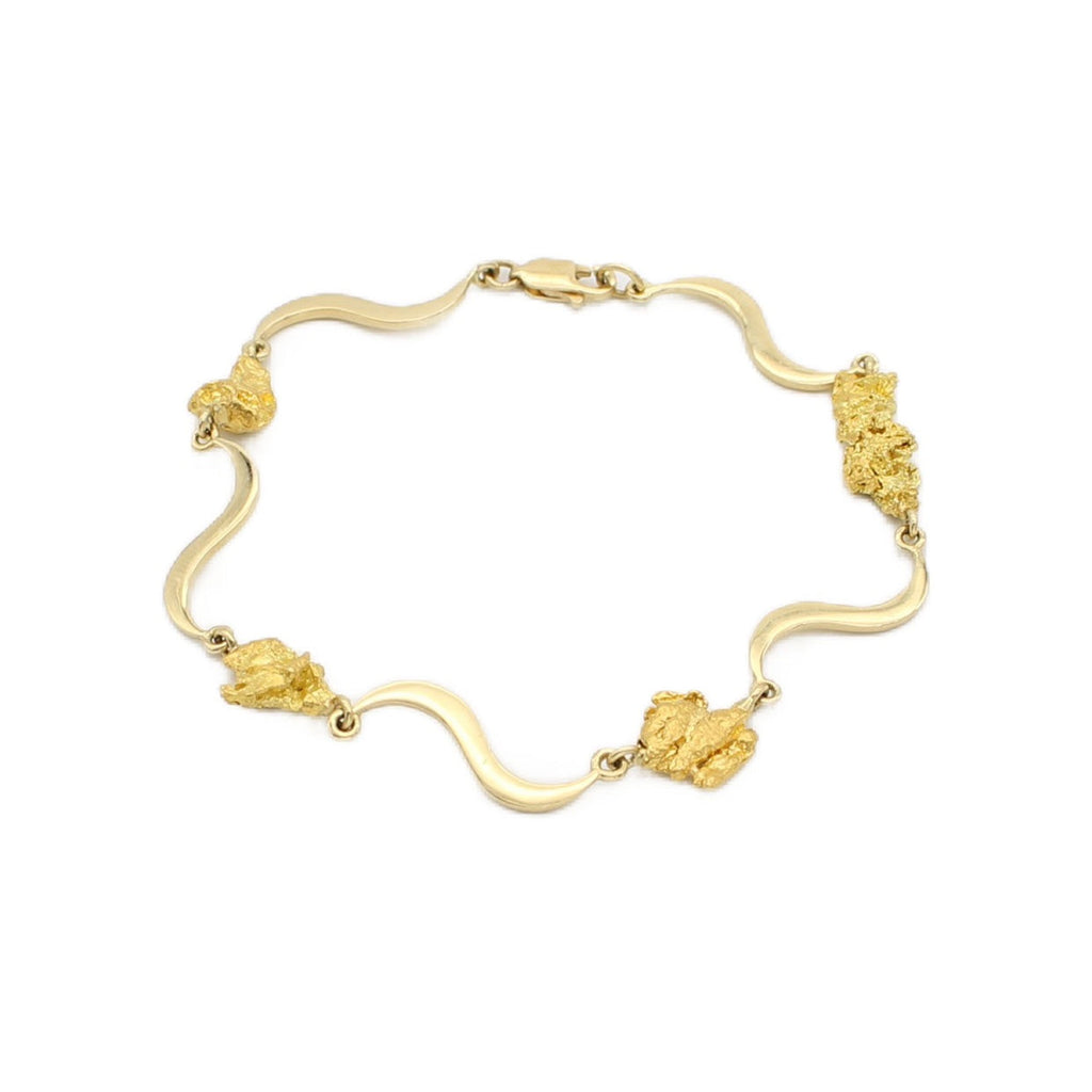 9ct Yellow Gold and Natural Australian Nugget Bracelet S pattern