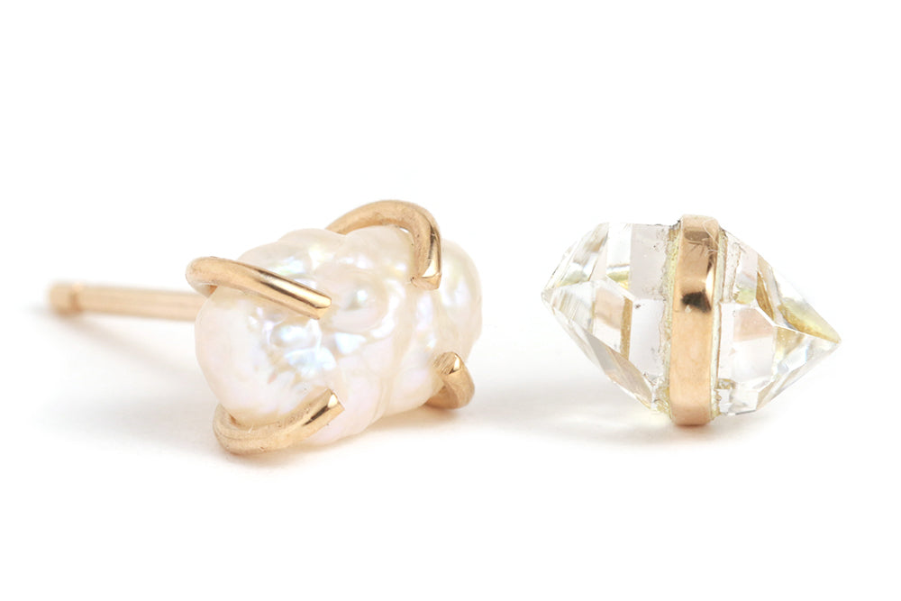 Herkimer and Pearl Mismatched Stud Earrings - Melissa Joy Manning Jewelry