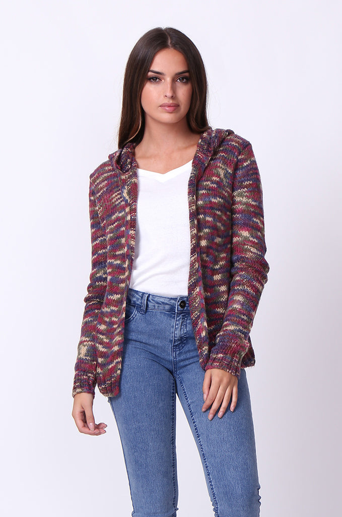 SF0055-MULTI TWEEDY HOODED CARDIGAN