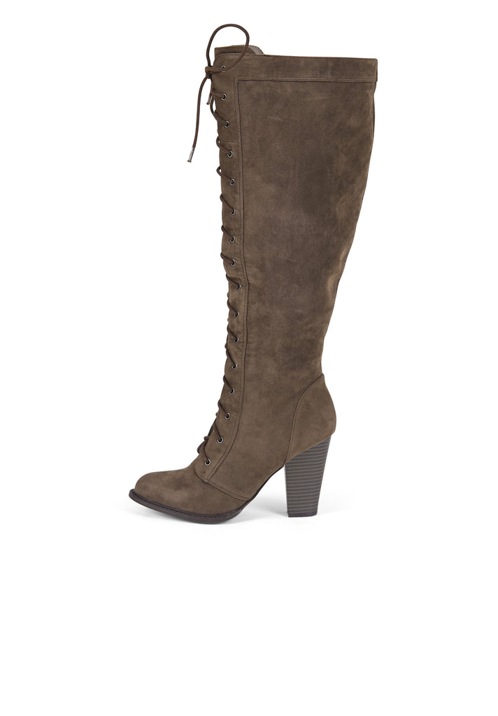 SW0297-TAUPE KNEE HIGH LACE UP BOOTS view 2