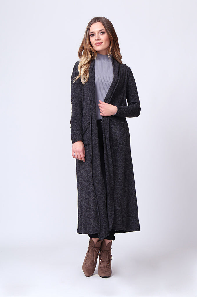 SGD0154-GREY LONG SLEEVE KNIT DUSTER CARDIGAN