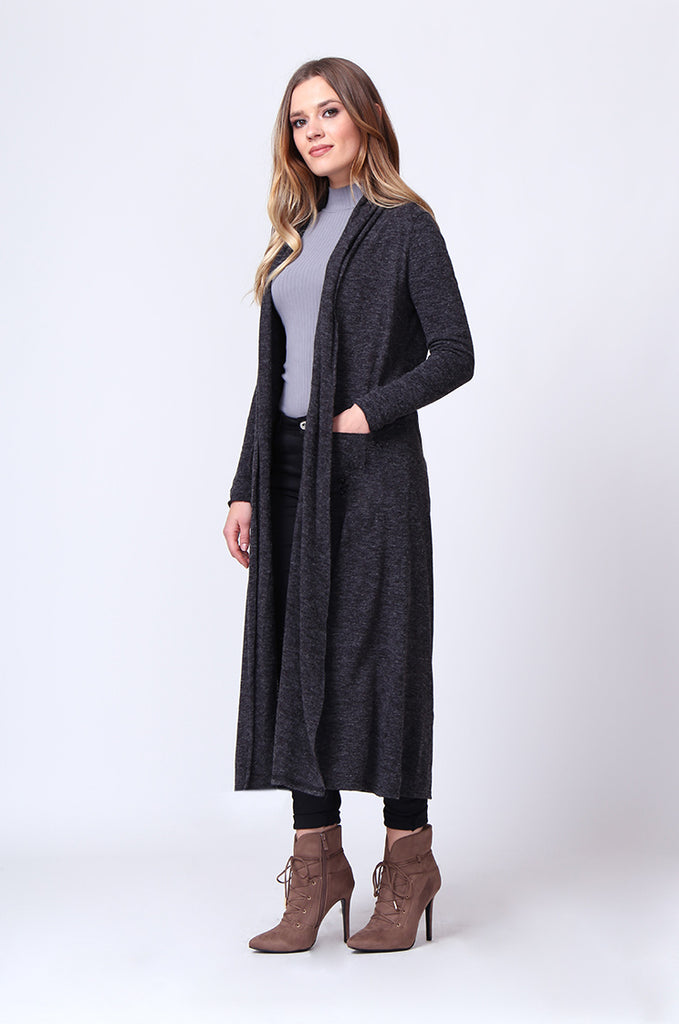 SGD0154-GREY LONG SLEEVE KNIT DUSTER CARDIGAN view 2
