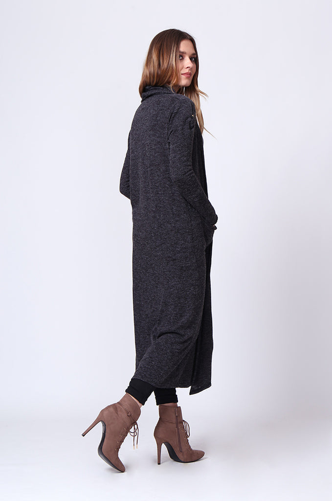 SGD0154-GREY LONG SLEEVE KNIT DUSTER CARDIGAN view 3