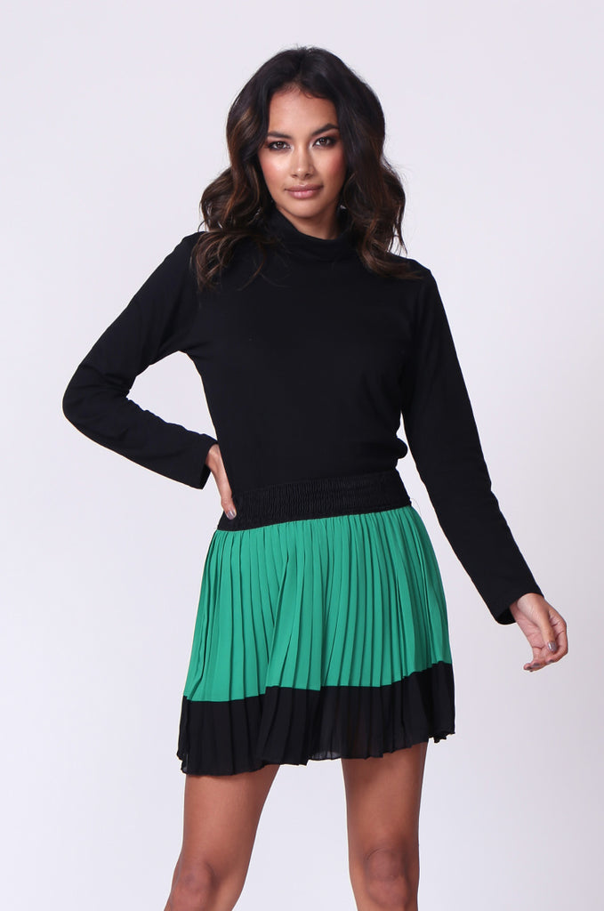 SP0131-GREEN CONTRAST PLEATED MINI SKIRT