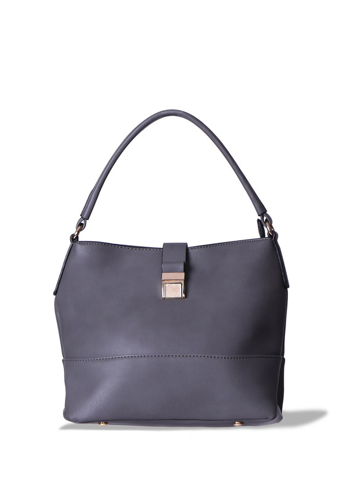 SMB0402-GREY GOLD CLASP SHOULDER BAG