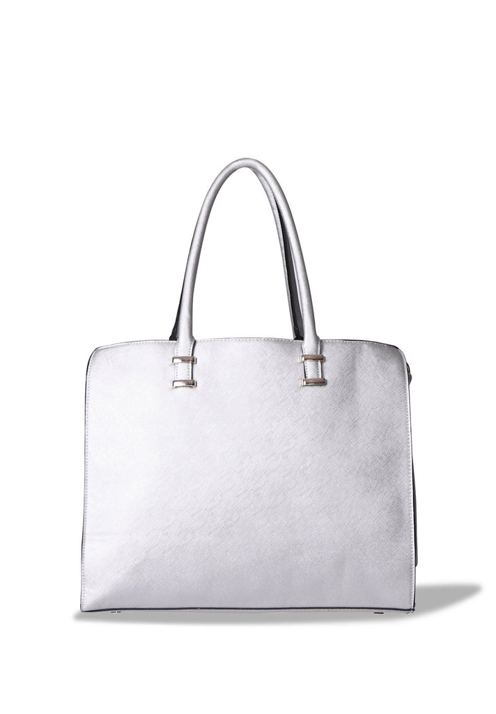 SMB0400-SILVER LARGE SHOPPER BAG