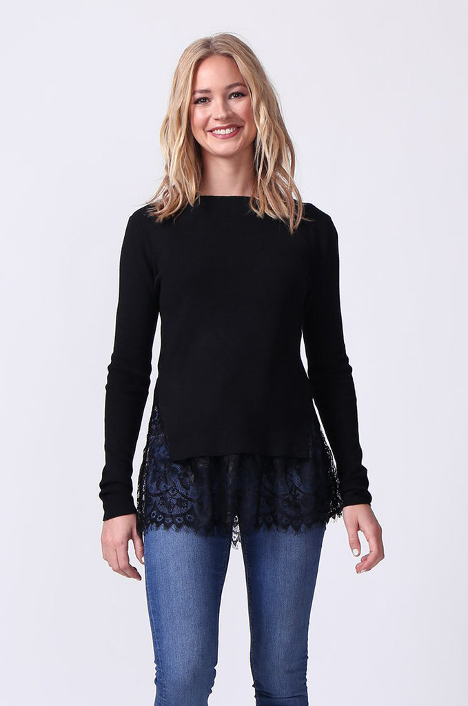 SJ0331-BLACK LACE HEM JUMPER