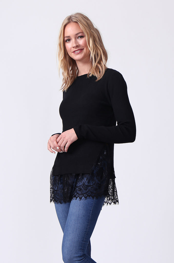 SJ0331-BLACK LACE HEM JUMPER view 2