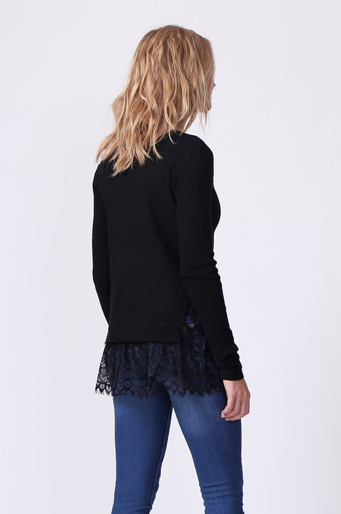 SJ0331-BLACK LACE HEM JUMPER view 3