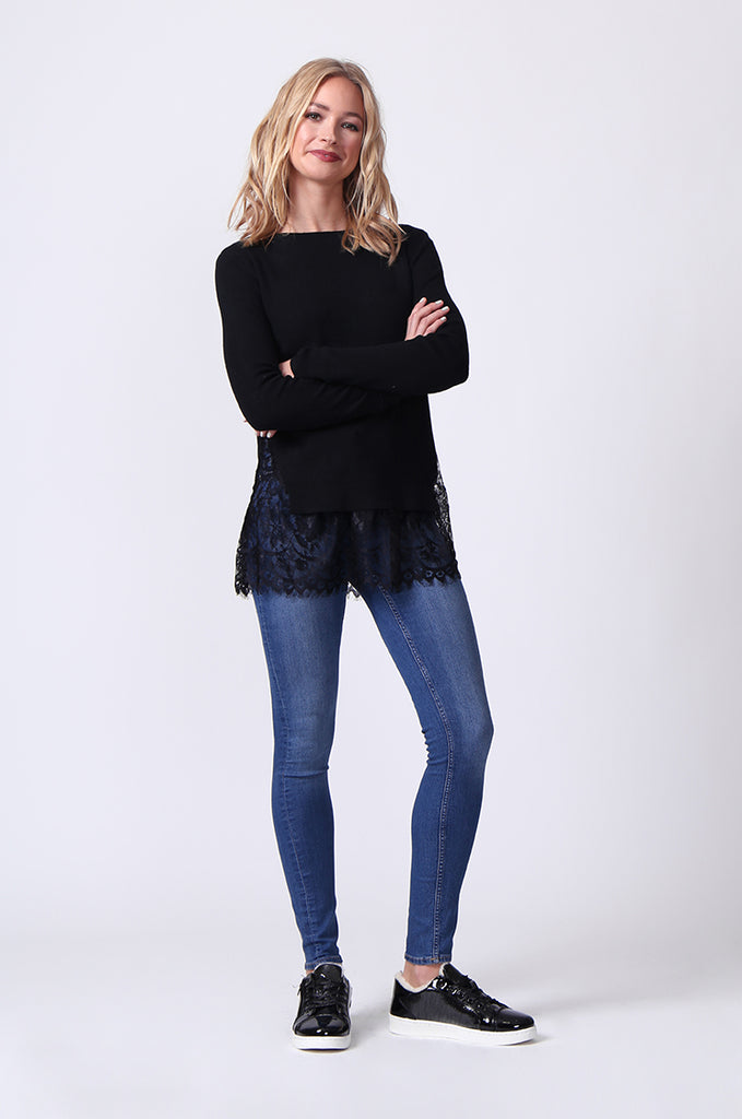 SJ0331-BLACK LACE HEM JUMPER view 4