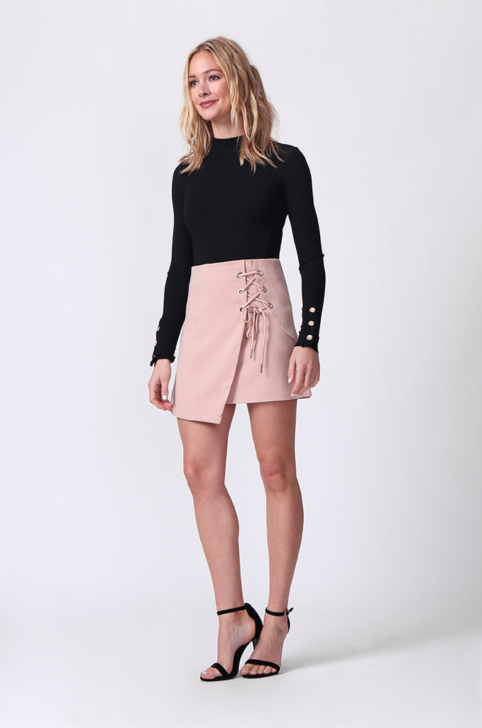 SJ0364-PINK LACE UP FRONT MINI SKIRT