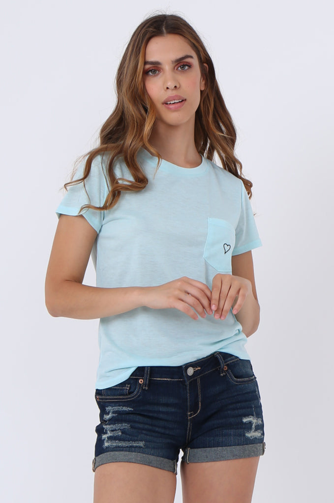 SJ1400-BLUE HEART EMBROIDED POCKET T-SHIRT view main view