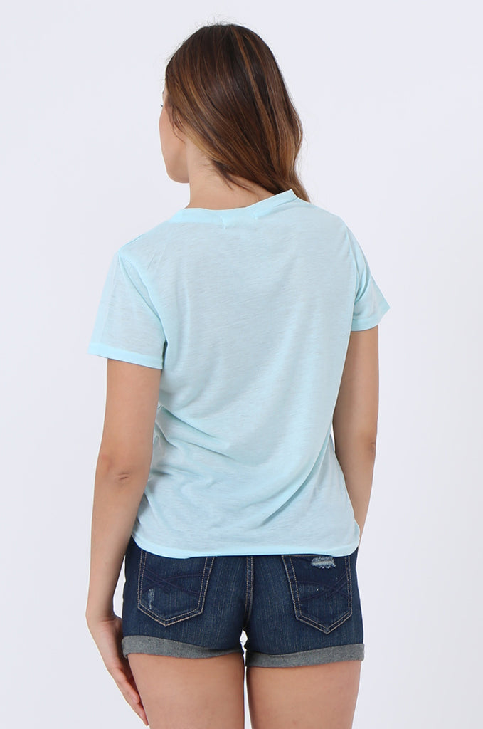 SJ1400-BLUE HEART EMBROIDED POCKET T-SHIRT view 3