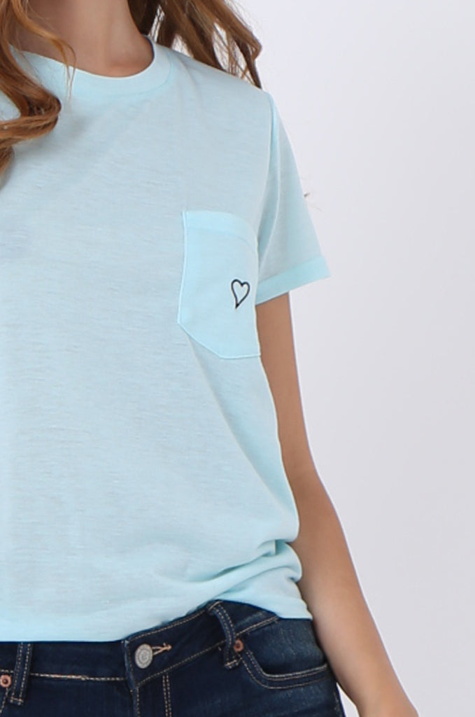 SJ1400-BLUE HEART EMBROIDED POCKET T-SHIRT view 5