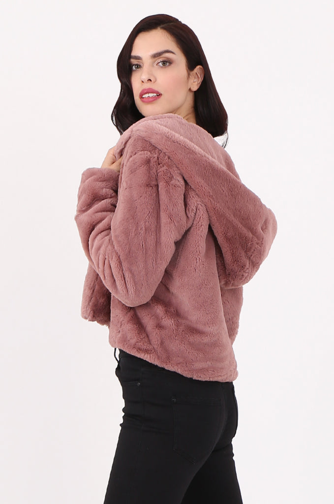 SJ2545-PINK HOODED FAUX FUR CROPPED JACKET view 2