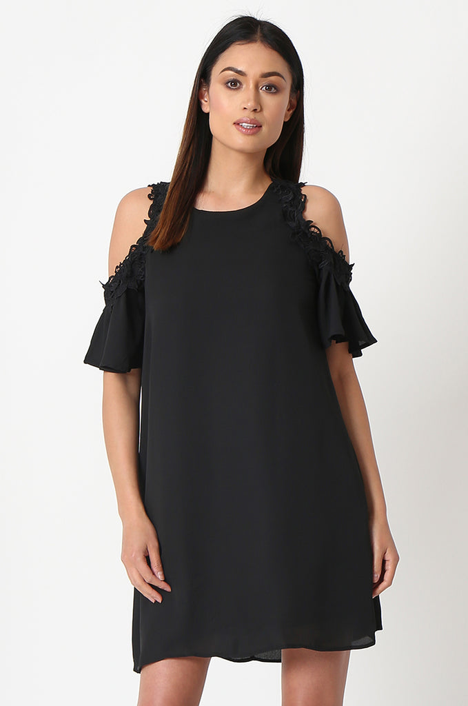 SJF2867-BLACK FRILL SLEEVE COLD SHOULDER DRESS view 2