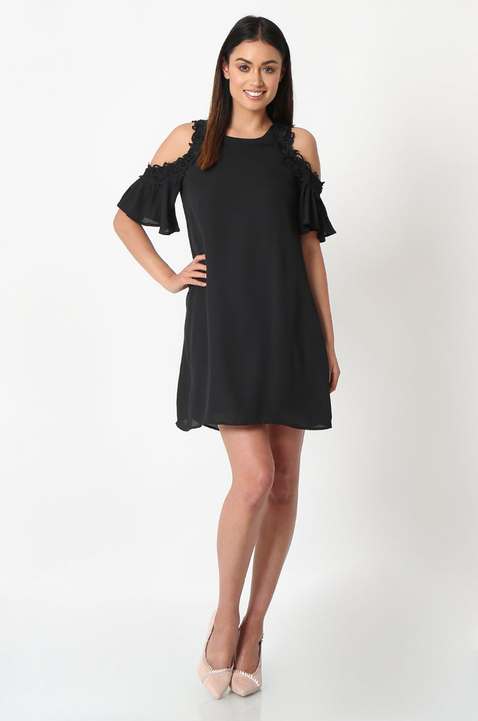 SJF2867-BLACK FRILL SLEEVE COLD SHOULDER DRESS view main view